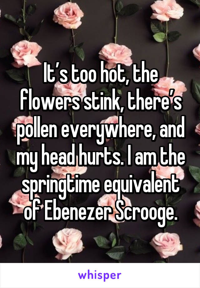 It's too hot, the flowers stink, there's pollen everywhere, and my head hurts. I am the springtime equivalent of Ebenezer Scrooge.