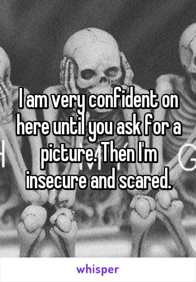 I am very confident on here until you ask for a picture. Then I'm insecure and scared.