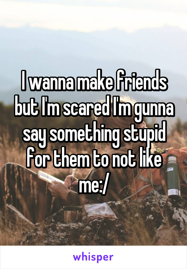 I wanna make friends but I'm scared I'm gunna say something stupid for them to not like me:/