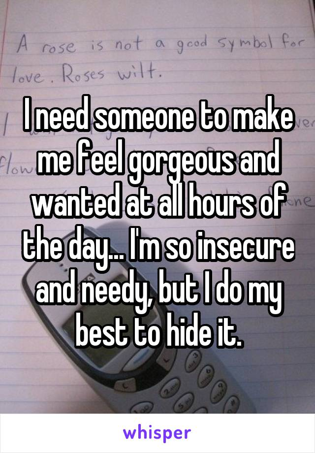I need someone to make me feel gorgeous and wanted at all hours of the day... I'm so insecure and needy, but I do my best to hide it.