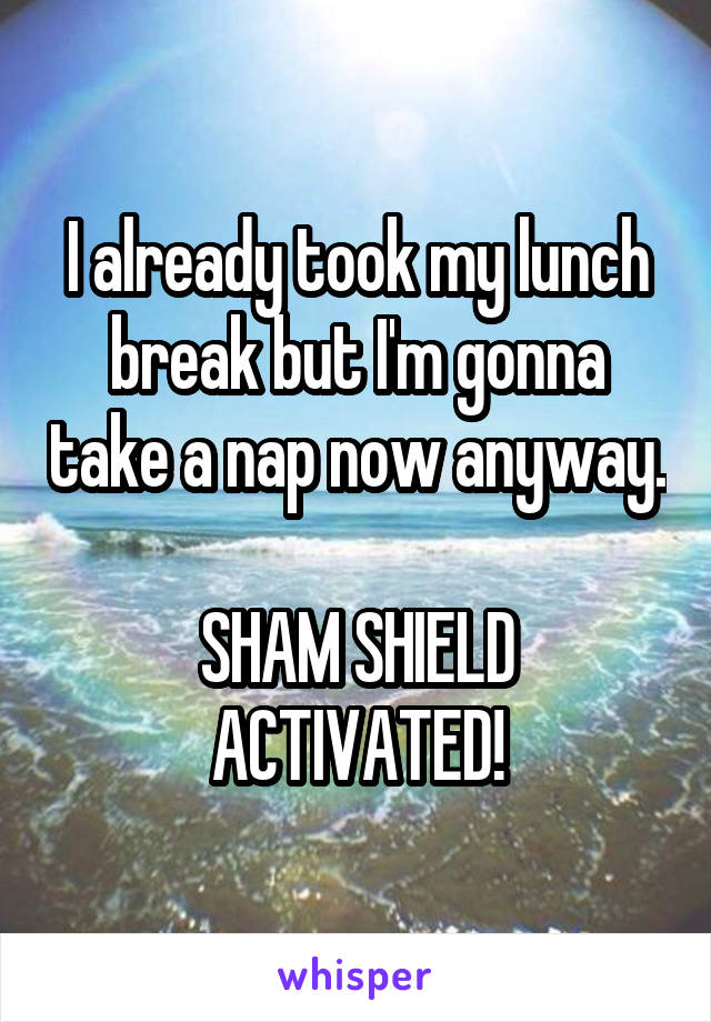 I already took my lunch break but I'm gonna take a nap now anyway.  SHAM SHIELD ACTIVATED!