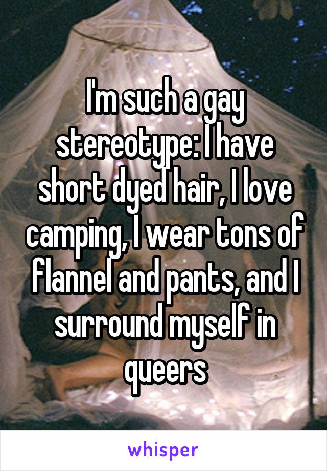 I'm such a gay stereotype: I have short dyed hair, I love camping, I wear tons of flannel and pants, and I surround myself in queers