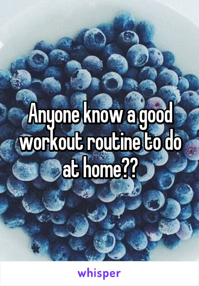 Anyone know a good workout routine to do at home??