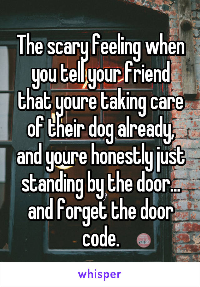 The scary feeling when you tell your friend that youre taking care of their dog already, and youre honestly just standing by the door... and forget the door code.