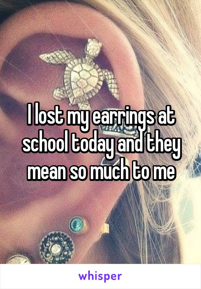 I lost my earrings at school today and they mean so much to me