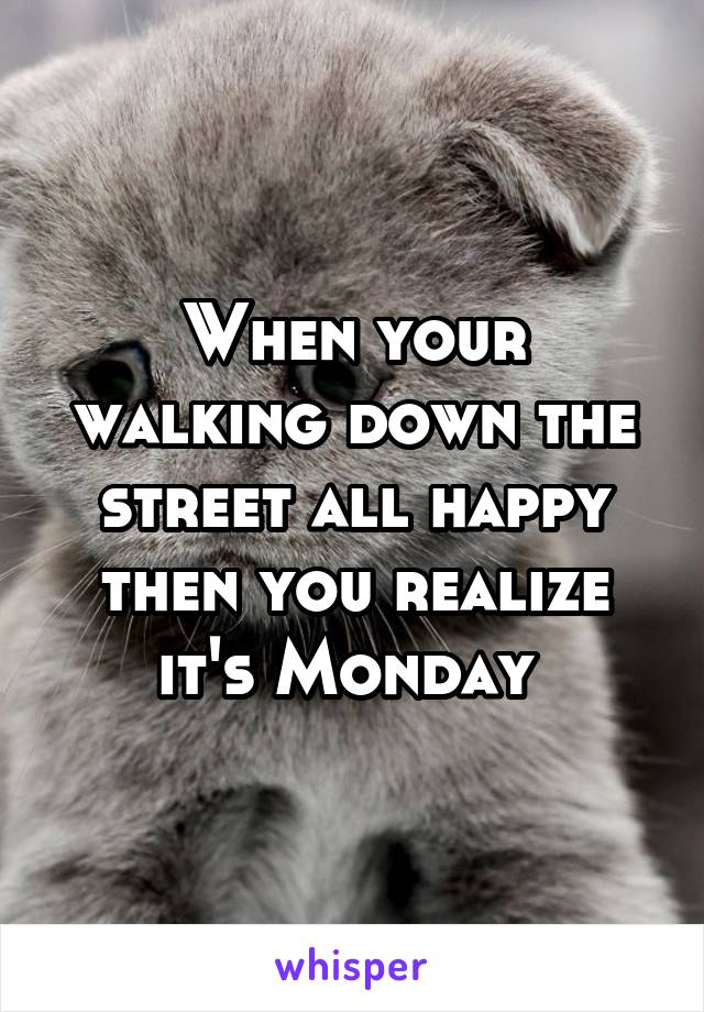 When your walking down the street all happy then you realize it's Monday