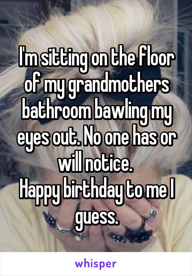 I'm sitting on the floor of my grandmothers bathroom bawling my eyes out. No one has or will notice.  Happy birthday to me I guess.