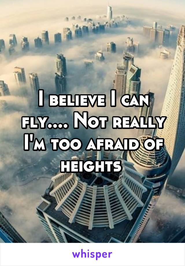 I believe I can fly.... Not really I'm too afraid of heights