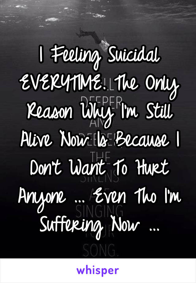 I Feeling Suicidal EVERYTIME. The Only Reason Why I'm Still Alive Now Is Because I Don't Want To Hurt Anyone ... Even Tho I'm Suffering Now ...