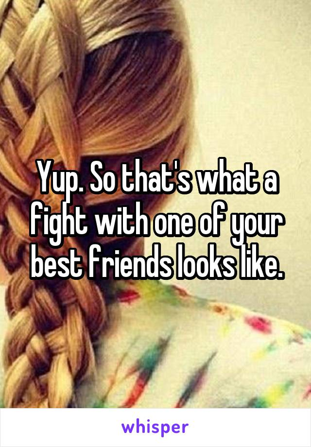 Yup. So that's what a fight with one of your best friends looks like.