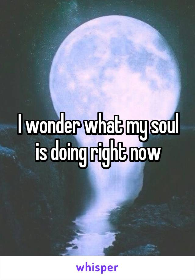 I wonder what my soul is doing right now