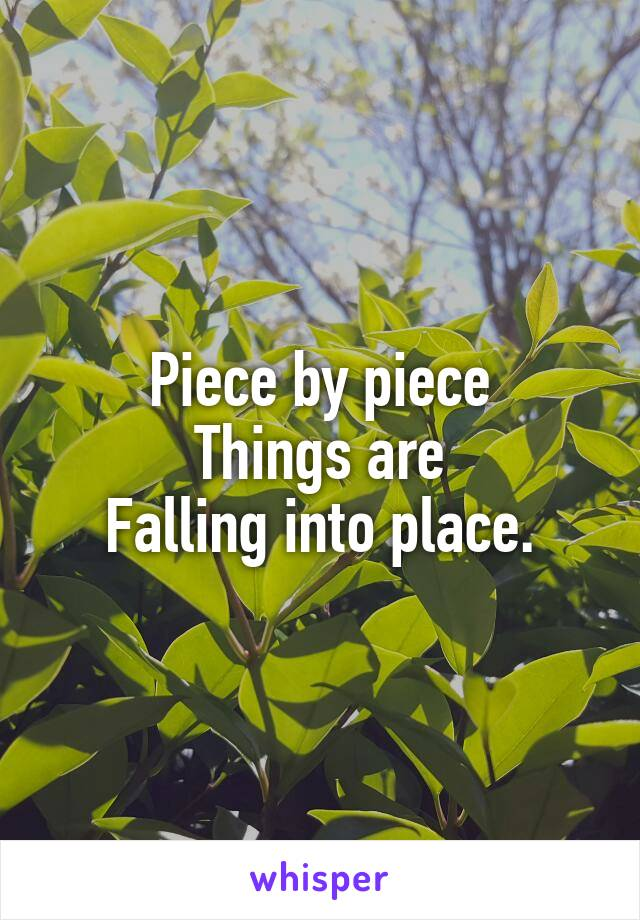 Piece by piece Things are Falling into place.