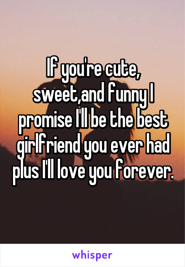 If you're cute, sweet,and funny I promise I'll be the best girlfriend you ever had plus I'll love you forever.