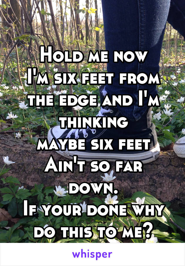Hold me now I'm six feet from the edge and I'm thinking maybe six feet Ain't so far down. If your done why do this to me?