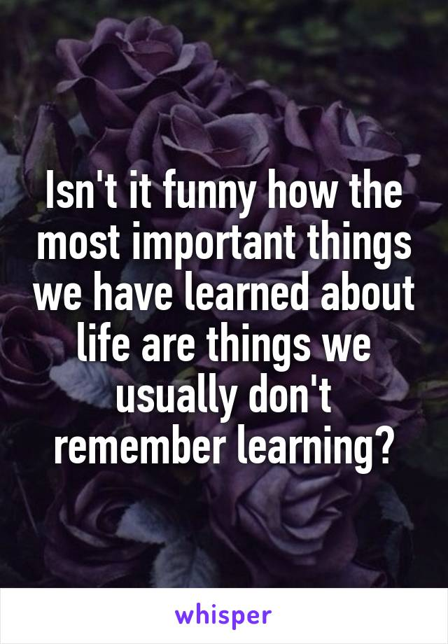 Isn't it funny how the most important things we have learned about life are things we usually don't remember learning?