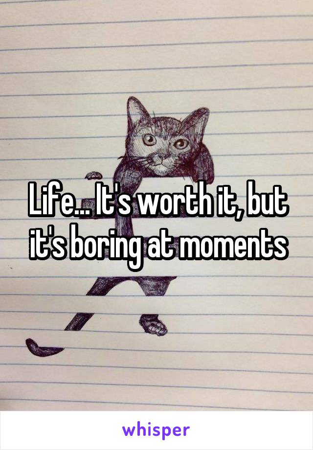 Life... It's worth it, but it's boring at moments