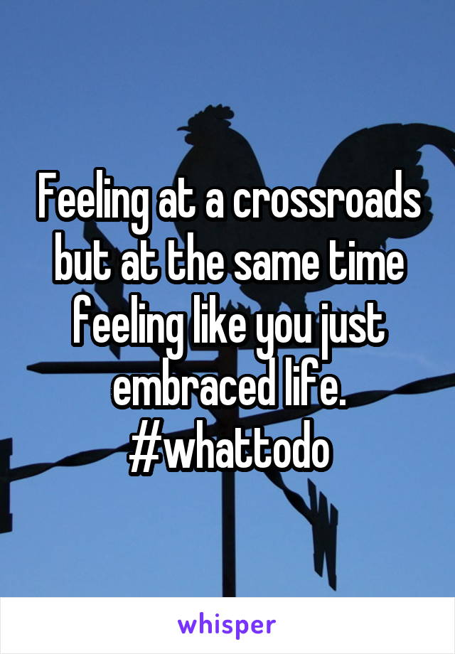Feeling at a crossroads but at the same time feeling like you just embraced life. #whattodo