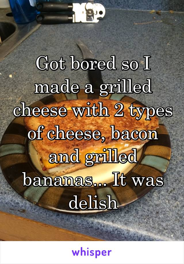 Got bored so I made a grilled cheese with 2 types of cheese, bacon and grilled bananas... It was delish