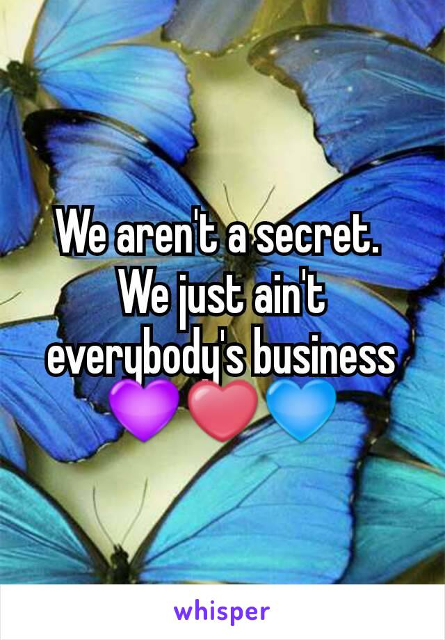 We aren't a secret.  We just ain't everybody's business 💜❤💙