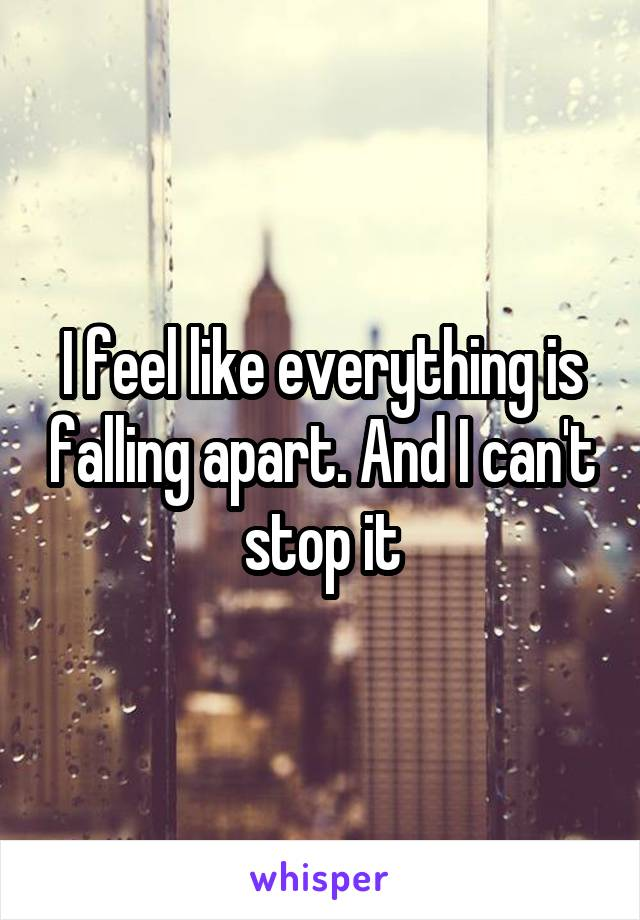 I feel like everything is falling apart. And I can't stop it