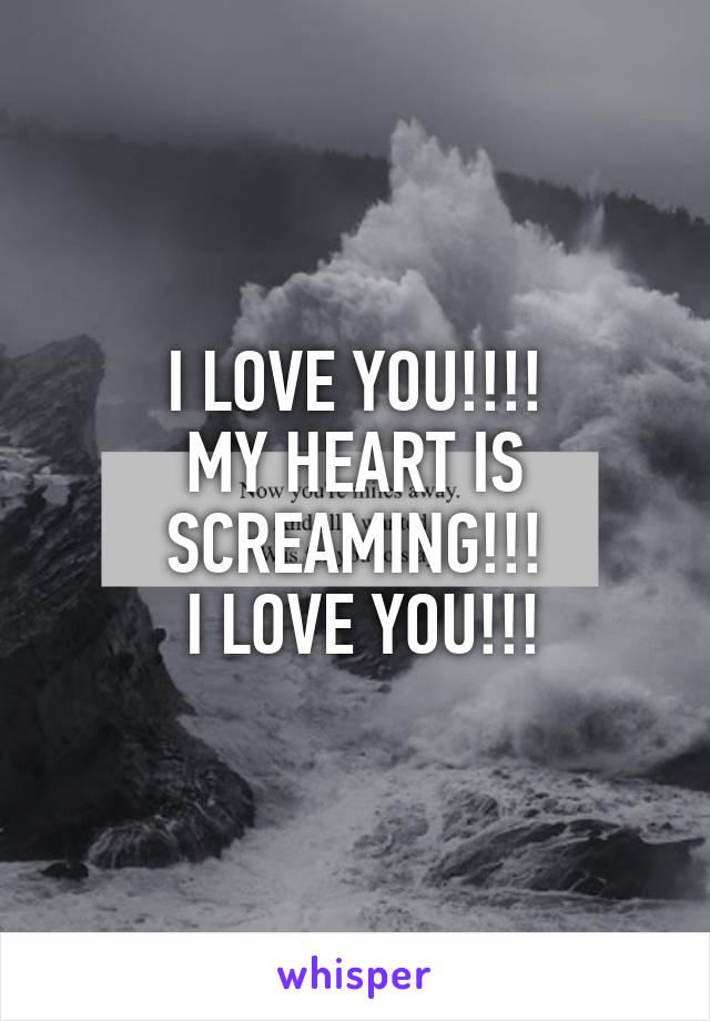 I LOVE YOU!!!! MY HEART IS SCREAMING!!!  I LOVE YOU!!!