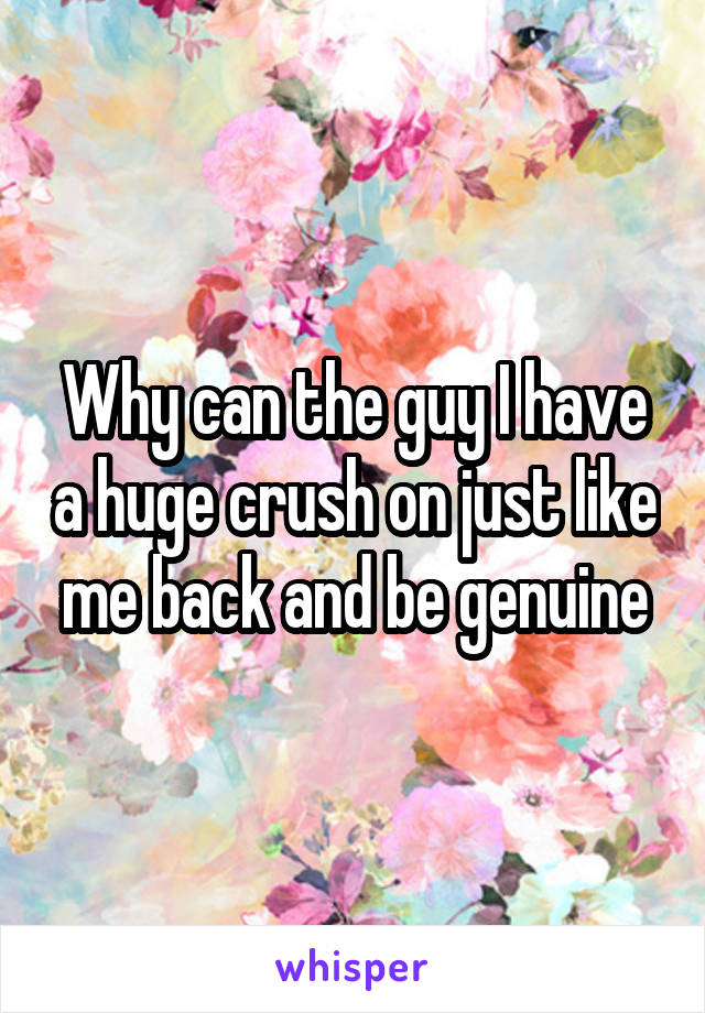 Why can the guy I have a huge crush on just like me back and be genuine