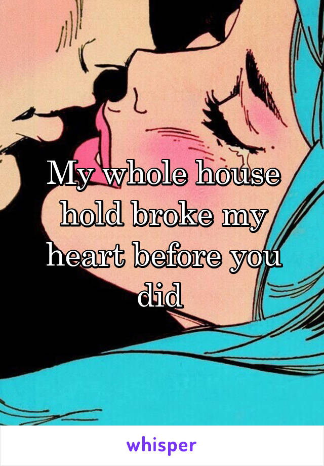 My whole house hold broke my heart before you did