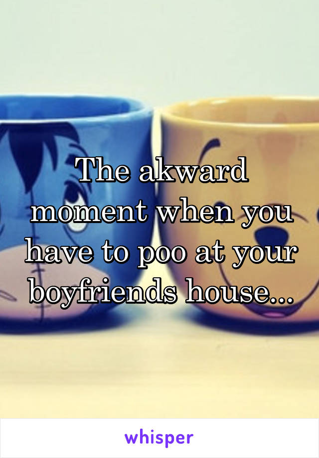 The akward moment when you have to poo at your boyfriends house...