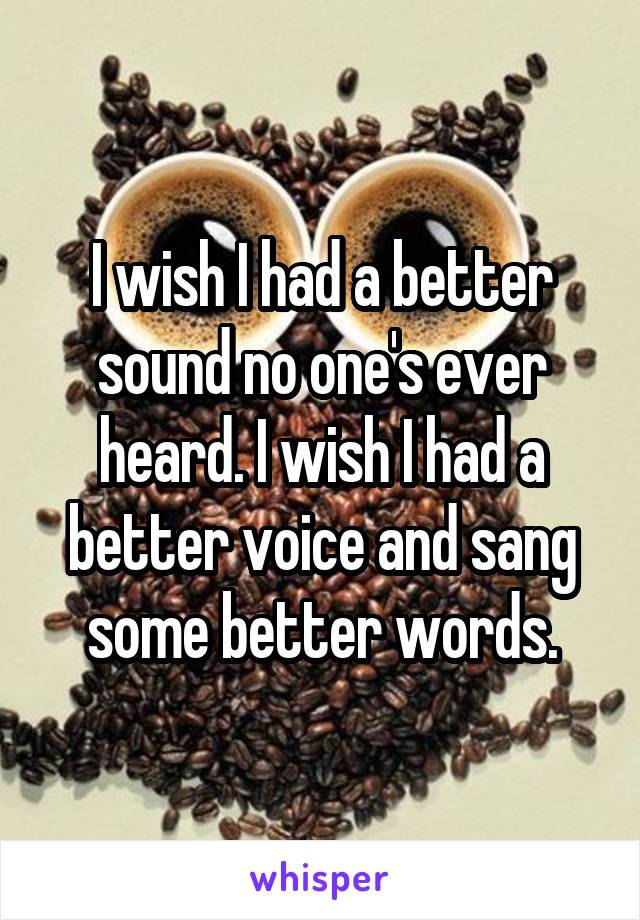 I wish I had a better sound no one's ever heard. I wish I had a better voice and sang some better words.