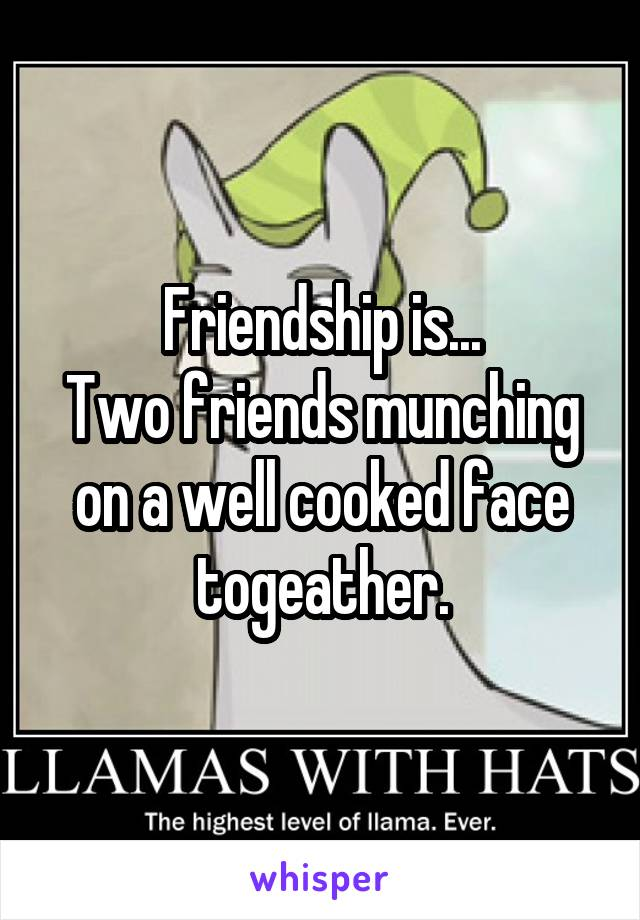 Friendship is... Two friends munching on a well cooked face togeather.