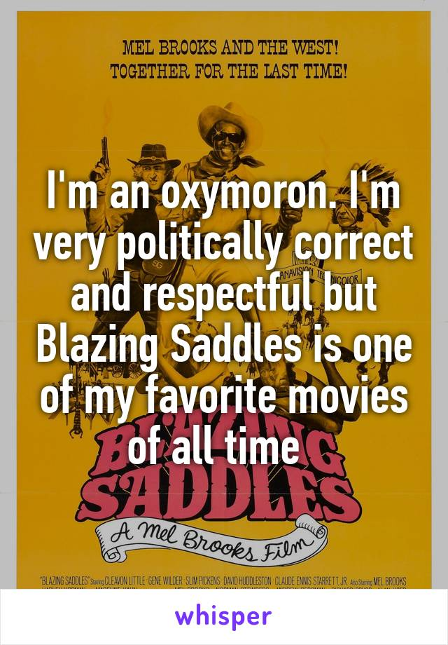 I'm an oxymoron. I'm very politically correct and respectful but Blazing Saddles is one of my favorite movies of all time