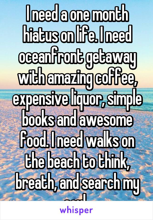 I need a one month hiatus on life. I need oceanfront getaway with amazing coffee, expensive liquor, simple books and awesome food. I need walks on the beach to think, breath, and search my soul..