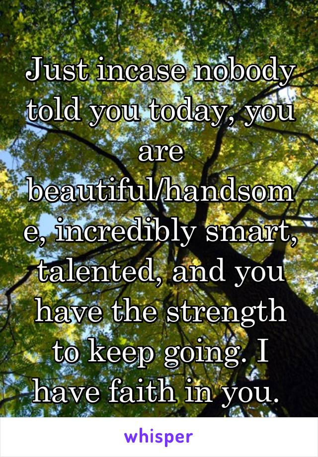 Just incase nobody told you today, you are beautiful/handsome, incredibly smart, talented, and you have the strength to keep going. I have faith in you.