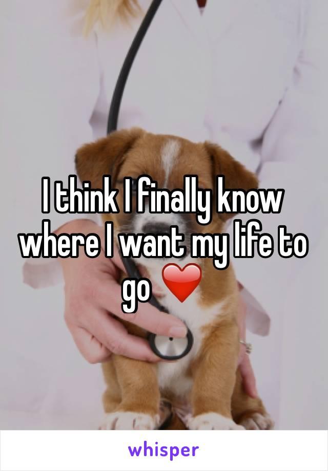 I think I finally know where I want my life to go ❤️