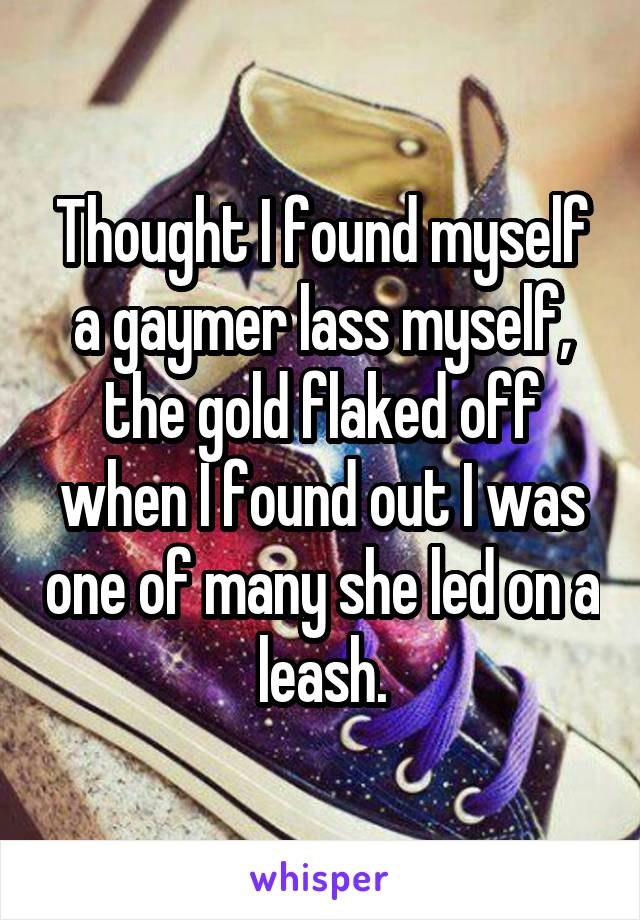 Thought I found myself a gaymer lass myself, the gold flaked off when I found out I was one of many she led on a leash.