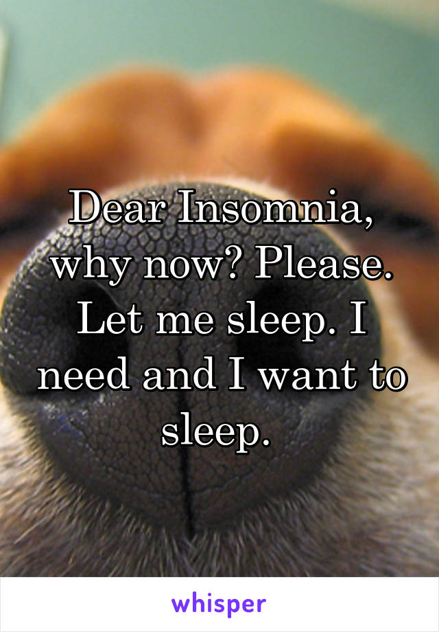 Dear Insomnia, why now? Please. Let me sleep. I need and I want to sleep.