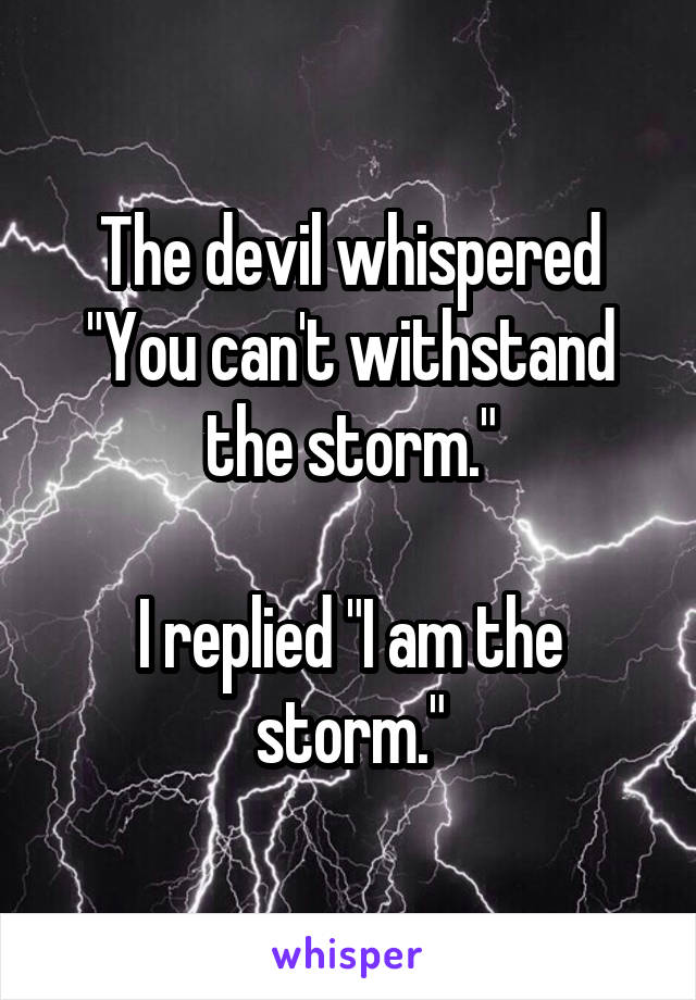 """The devil whispered """"You can't withstand the storm.""""  I replied """"I am the storm."""""""