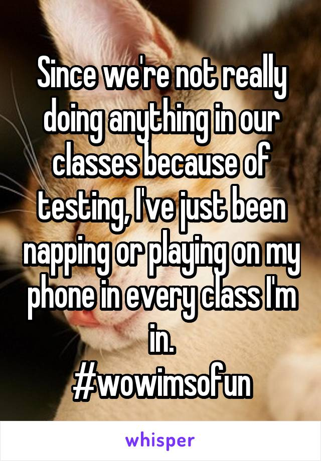 Since we're not really doing anything in our classes because of testing, I've just been napping or playing on my phone in every class I'm in. #wowimsofun