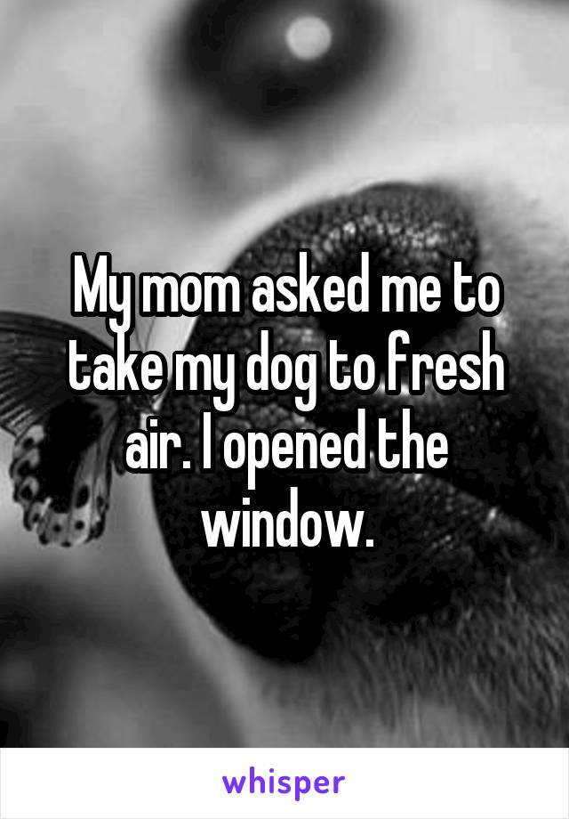 My mom asked me to take my dog to fresh air. I opened the window.