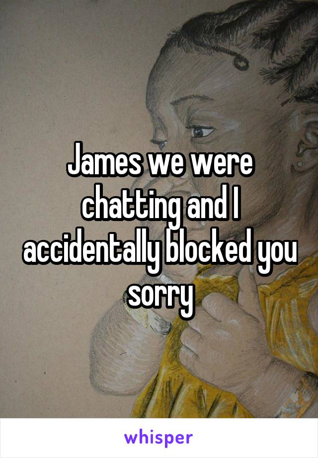 James we were chatting and I accidentally blocked you sorry