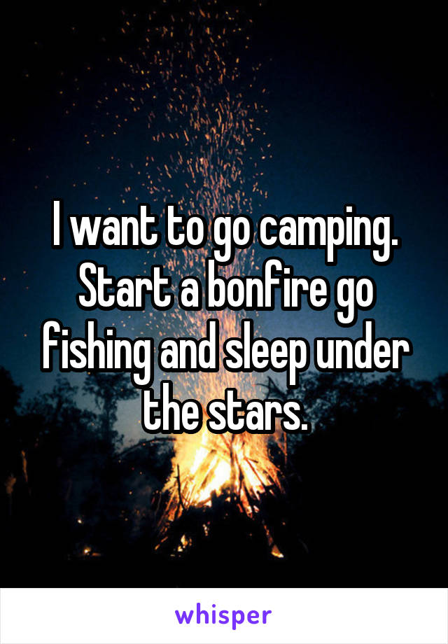 I want to go camping. Start a bonfire go fishing and sleep under the stars.