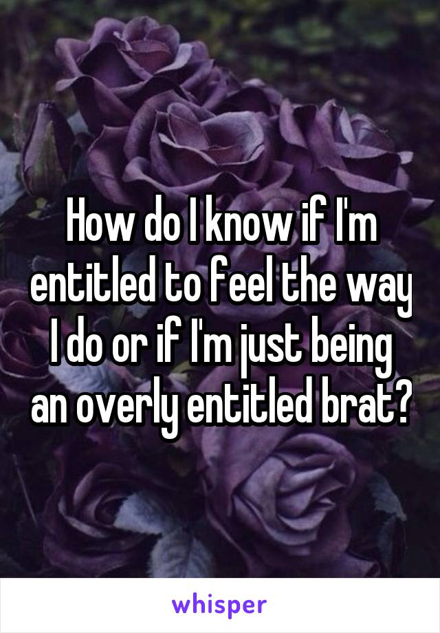 How do I know if I'm entitled to feel the way I do or if I'm just being an overly entitled brat?