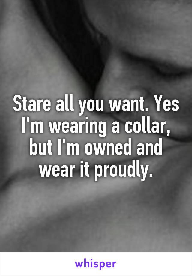 Stare all you want. Yes I'm wearing a collar, but I'm owned and wear it proudly.