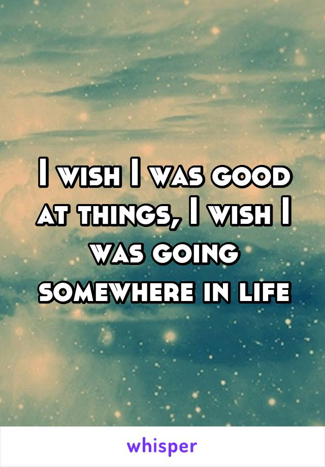 I wish I was good at things, I wish I was going somewhere in life