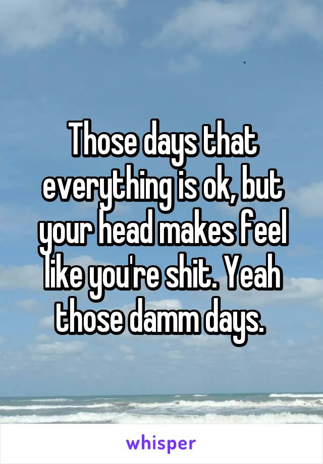 Those days that everything is ok, but your head makes feel like you're shit. Yeah those damm days.