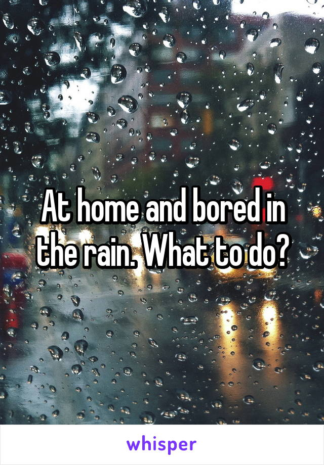At home and bored in the rain. What to do?