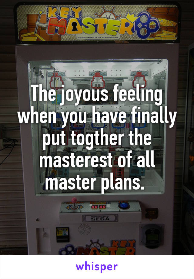 The joyous feeling when you have finally put togther the masterest of all master plans.