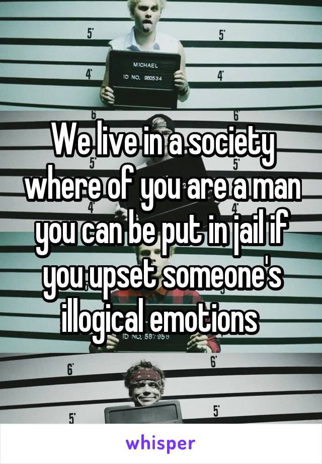 We live in a society where of you are a man you can be put in jail if you upset someone's illogical emotions