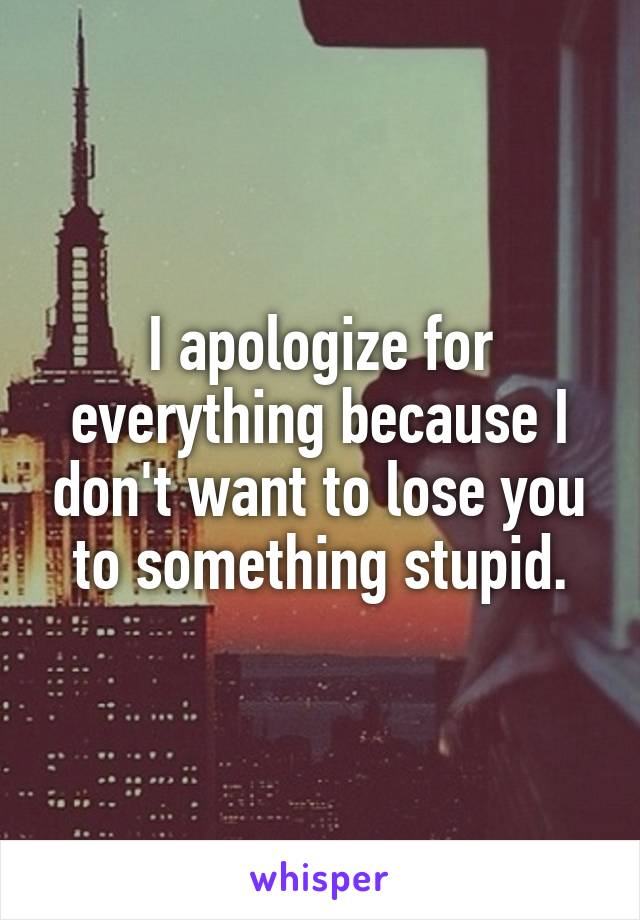 I apologize for everything because I don't want to lose you to something stupid.