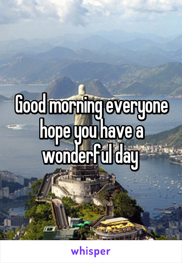 Good morning everyone hope you have a wonderful day